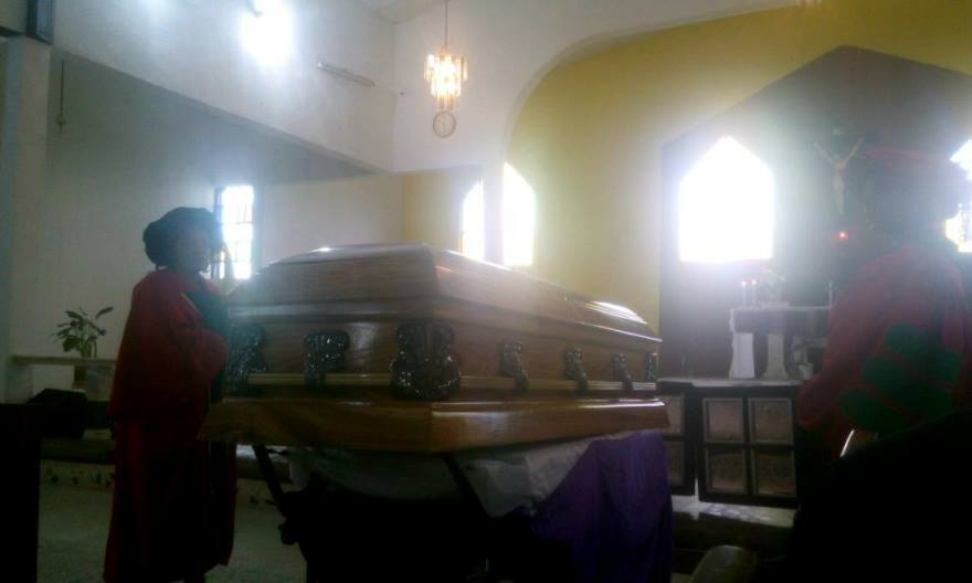 Casket bearing remains of Prof. Andor Isika at the funeral mass