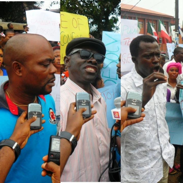 Mr. Solomon Edem, Hon. Bassey Otodor and Ambassador Caleb Awatt speaking at the protest
