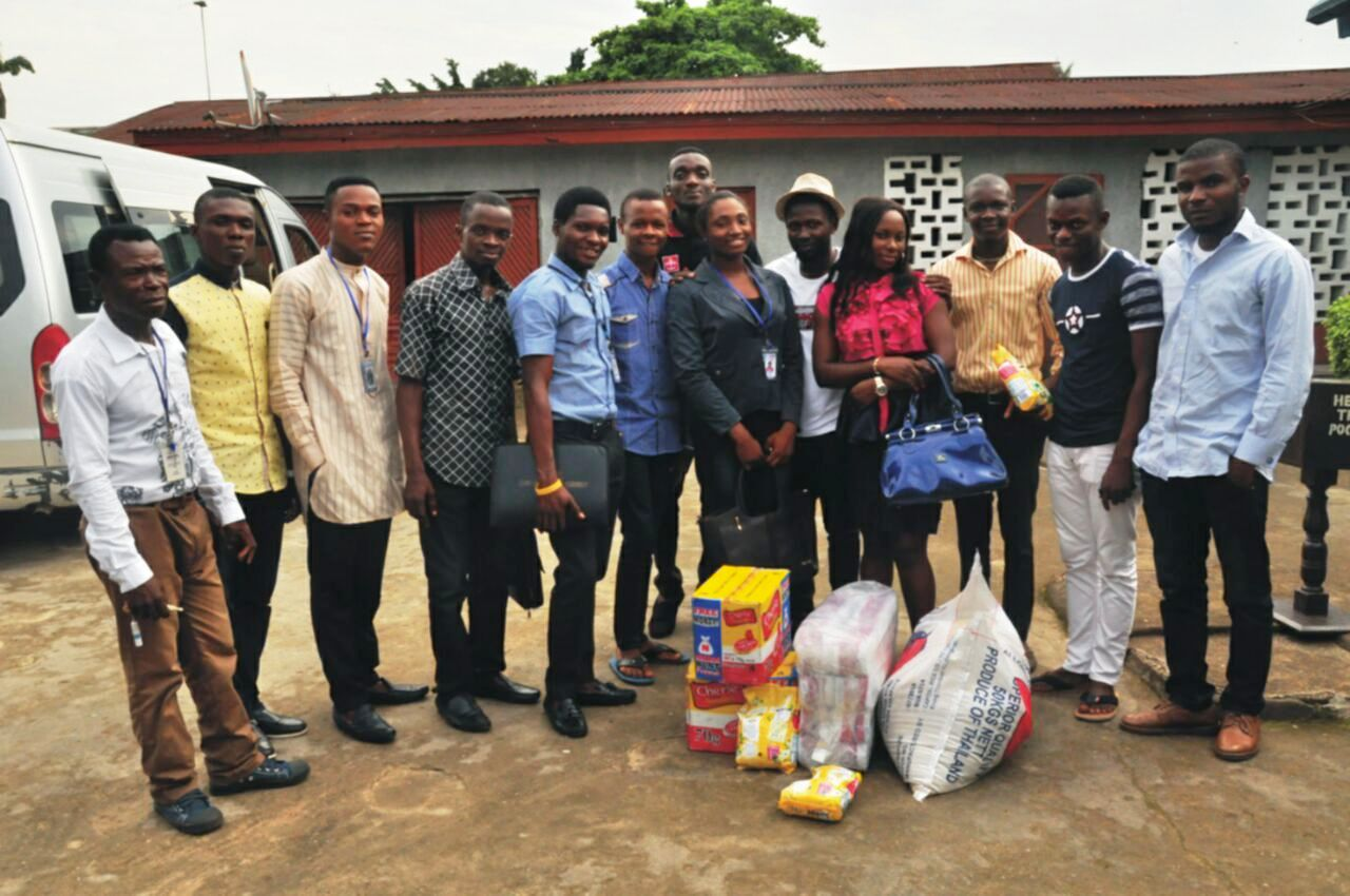 The delegation at the orphanage home bearing gifts