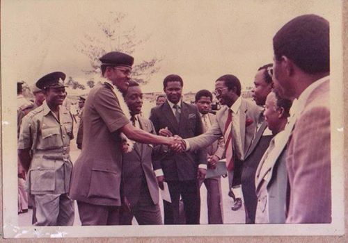 Senate Leader, Victor Ndoma Egba @ Age 27, as Commissioner of Works and Transport in the old Cross River State welcoming the then Head of State, Major General Muhammadu Buhari to Cross River State