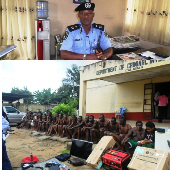 The acting commissioner briefing newsmen in his office (above)  while below are the paraded suspects