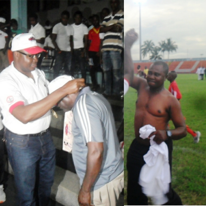 The representative of Sen. Liyel Imoke being decorated by the representative of the UNICEM MD and the 2014 male champions coach jubilating