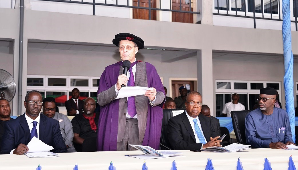 Cross River State Governor, Senator Liyel Imoke( far right), Chairman Governing Council, Institute of Technology and Management (ITM), Prof Evara Esu, the Registrar, Dr. William Pedley and the Registrar, Mr. Anthony Oshin at the inaugural matriculation ceremony of the Institute, today