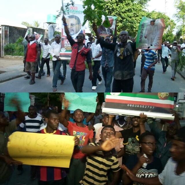 Senator Bassey Otu supporters protesting in Calabar