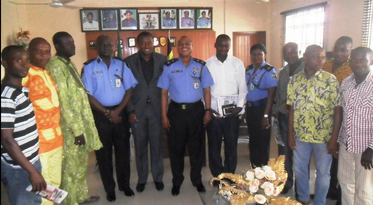 Commissioner of Police Cross River Command, Mr. Henry Fadairo, (middle), some of his officers and members of the drivers union during their visit to the CP in Calabar