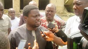 Hon. Daniel Asuquo (Dansuki) talking to the press