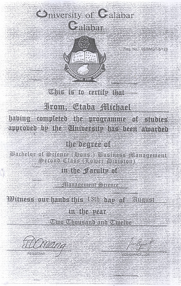 Forged UNICAL certificate