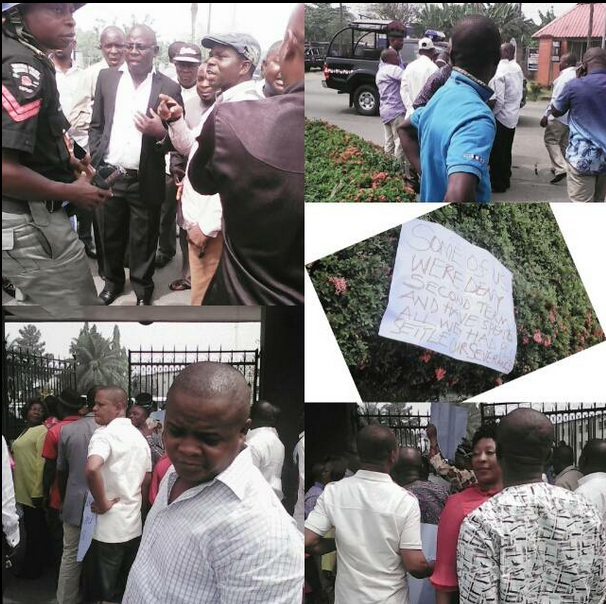 The former political office holders during their protest in Calabar