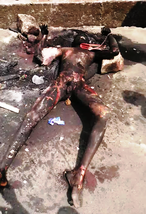 charred remains of the suspected robber