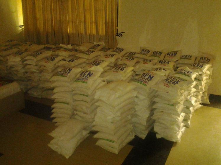 The rice on arrival at the Mega Hilton Hotel, Obudu