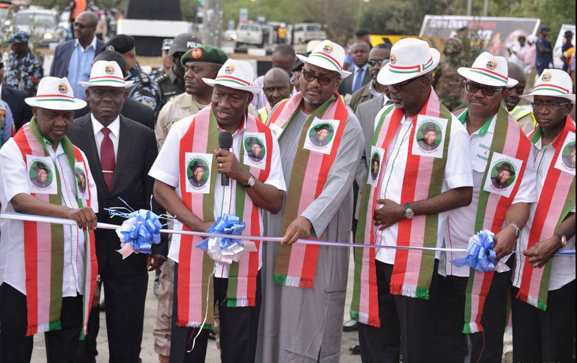 President Goodluck Jonathan (2nd left) assisted by his Vice, Namadi Sambo (L) PDP Chairman, Ahmadu Adamu Mu'azu, Cross River State Governor, Sen. Liyel Imoke, Mr. Peter Obi, and Senate Leader, Sen. Victor Ndoma-Egba, SAN (R) at the commissioning of the multi-billion naira Goodluck Jonathan Bypass in Calabar, today
