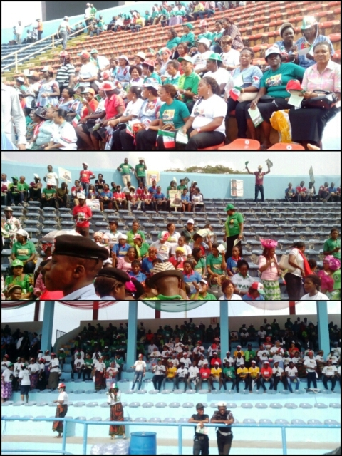 Sections of the U.J. Esuene Stadium were empty when the president visited