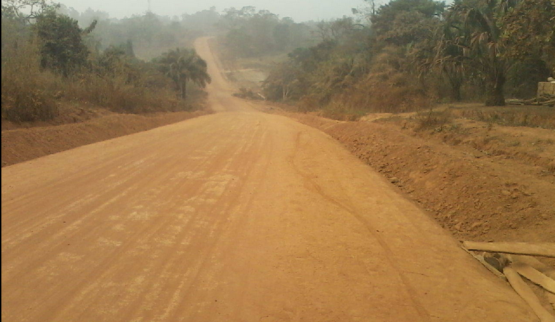 The earth road leading to the dam