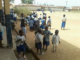 Pupils playing in one of the schools visited