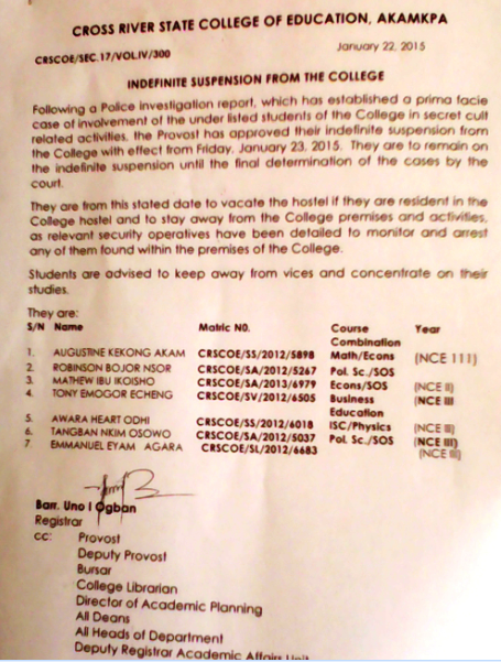 The suspension notice from school management