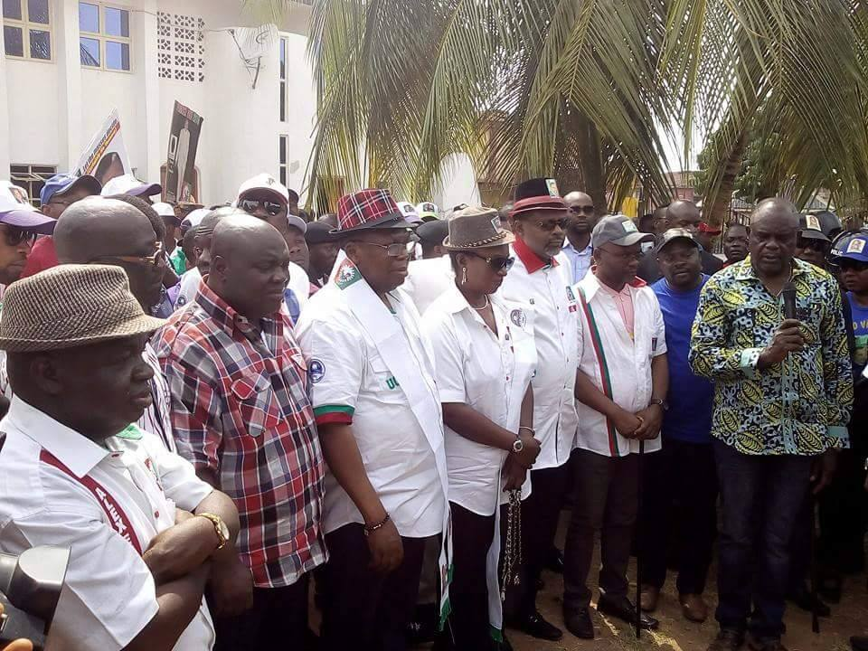 From left: LP House of Reps Candidate for Ai/Yakurr, Chief Alex Egbuna, Central Senatorial District Candidate, Dr. Sandy Onor, Governorship Candidate, Ntufam Fidelis Ugbo, his deputy and the Southern Senatorial Candidate, Senator Bassey Otu at the campaign flag off in Yakurr yesterday