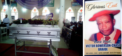Remains of Late Professor Braide lying in state during the church service in Calabar and a picture of the late educationist