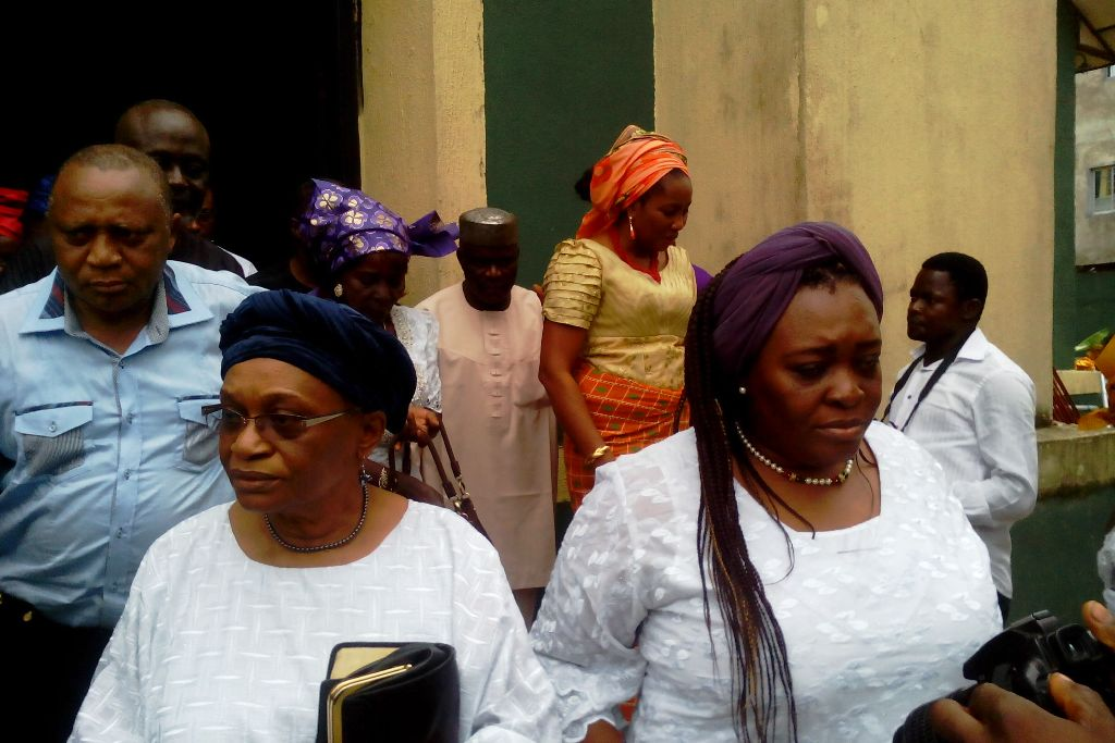 Wife of the deceased and Ex CRUTECH VC, Professor Ekanem Braide and daughter, Pamela Braide during the church service in Calabar today