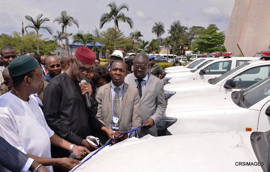 Representative of Tank Farm Operators CFTZ, Mr. Ignatius Edema, Cross River State Governor, Senator Liyel Imoke, Rep of North West Petroleum, Deputy Governor, Efiok Cobham,  at the commissioning of first batch of patrol vehicle donated  by  the tank farm operators to beef security in Calabar, today