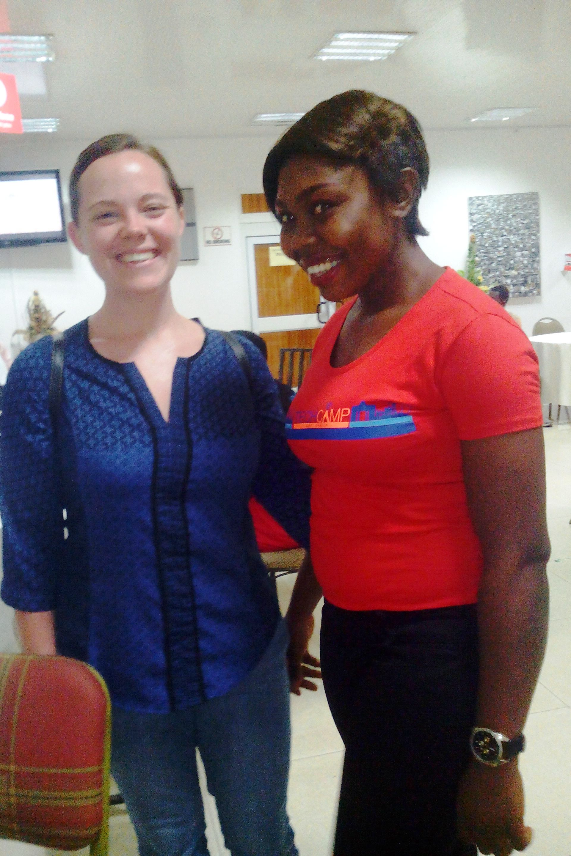 CrossRiverWatch's Edima Frank (right) with another attendee at the TechCamp2015 in Accra, Ghana