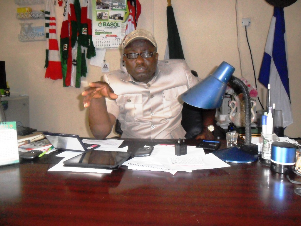 Cross River State NUT Chairman talking to CrossRiverWatch in his Calabar office.
