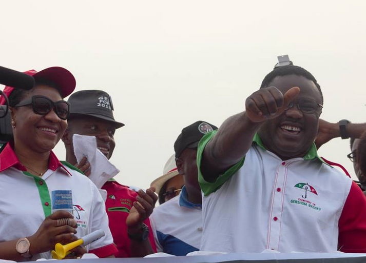 Senator Ben Ayade and wife, Linda Ayade during one of the campaign rallies