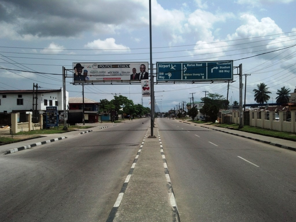 Ever busy Marian Road in Calabar deserted - all for the elections