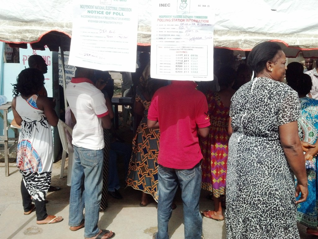 Voters waiting for accreditation yesterday