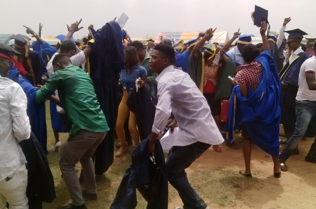 Students dancing to tunes by a live band that provoked a lecturer