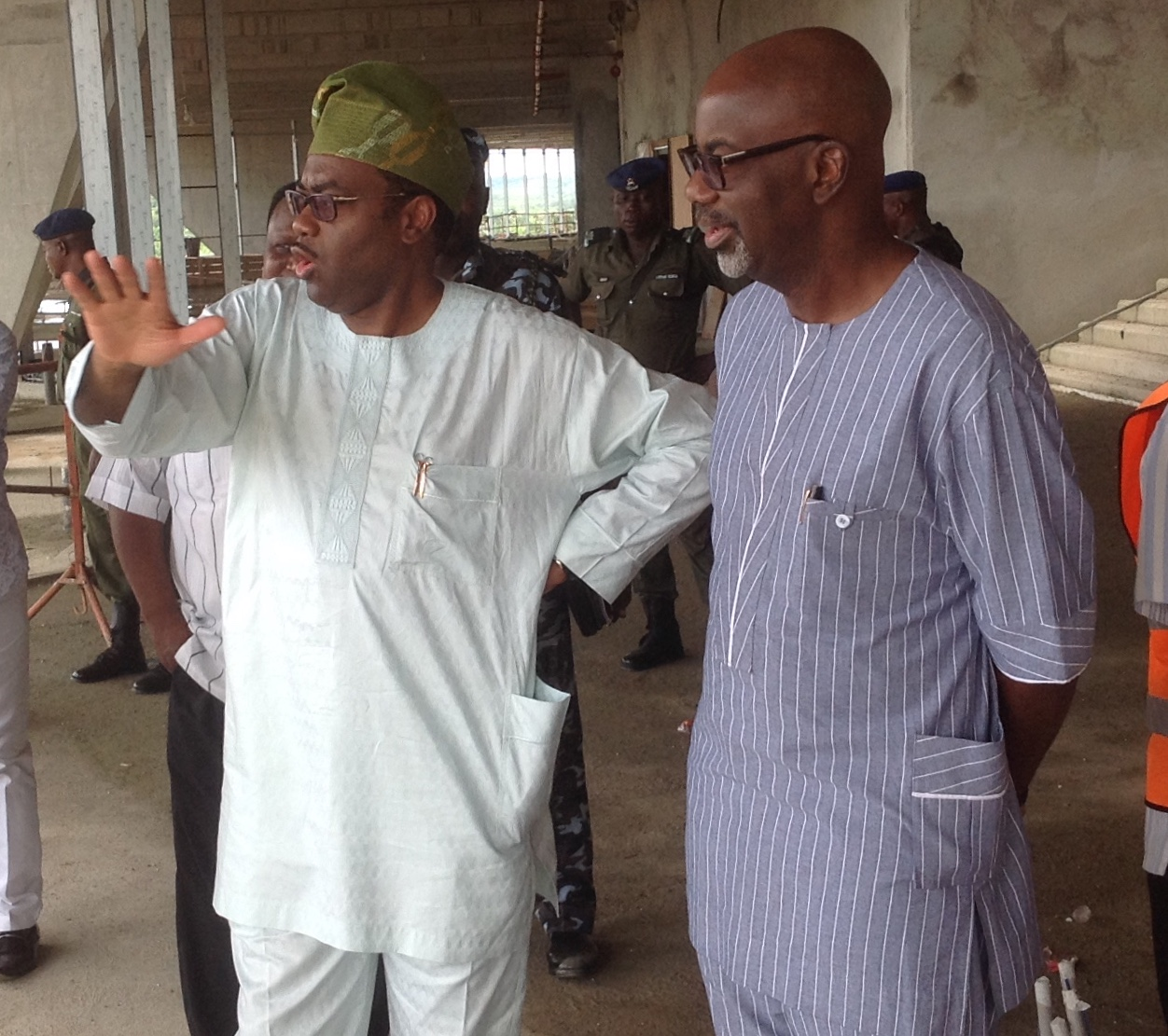 Agriculture Minister, Akinwumi Adesina and Governor Imoke during the inspection of Songhai farm in Itigidi