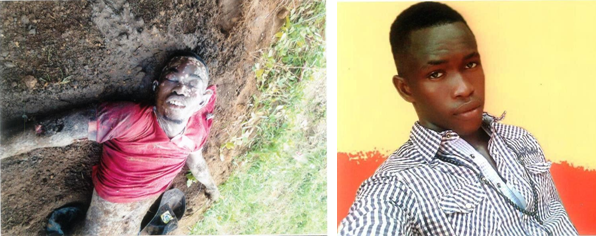Douglas Oga Ojugbo before and after his body was exhumed