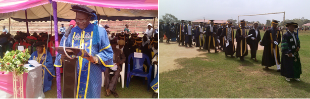 Provost, FCE Obudu, Mr. Eugene Ibli addressing the students (left) and the Students process (right)