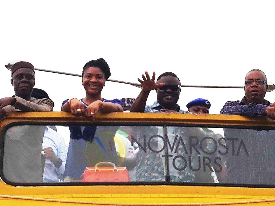 From left: Ntufam John Okon, Dr. Linda Ayade, Governor Elect, Senator Ben Ayade and his deputy, Professor Ivara Esu on the PDP victory parade