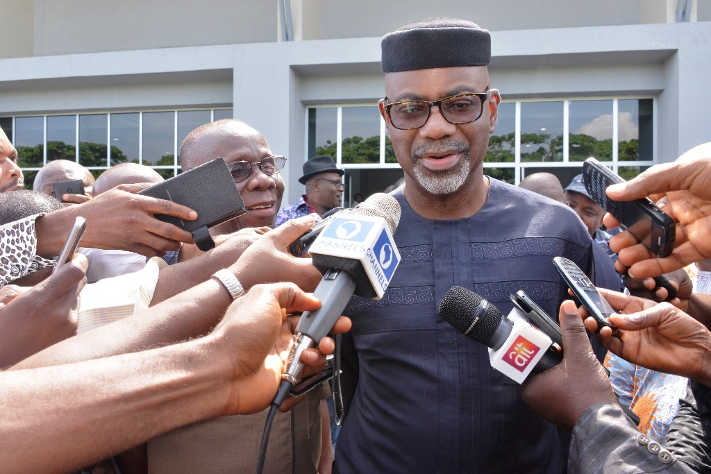 Governor Liyel Imoke fielding question from newsmen shortly on arrival from Abuja at the Margaret Ekpo Int'l Airport, Calabar, today