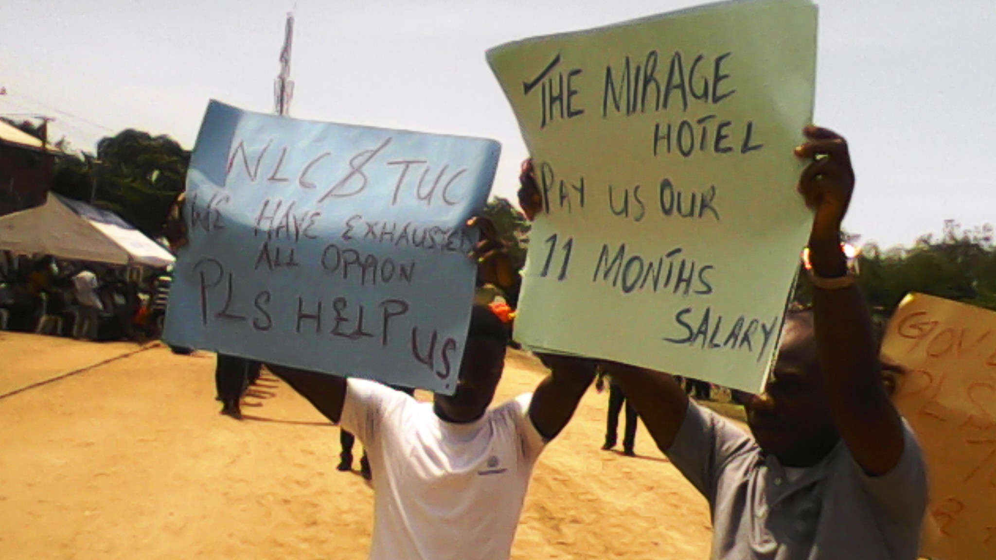 Placard carrying staff of Mirage Hotel