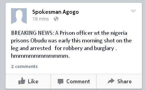 Facebook post by the SA on Security to the Obudu LG Chairman