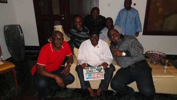 Barrister Venatius Ikem directly behind the out going President, GEJ (photo credit: vena's wall)