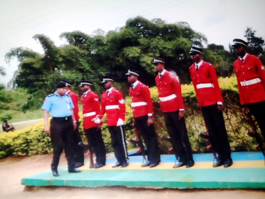 Commissioner of Police Inspecting Guard of Honor in Bakassi this morning
