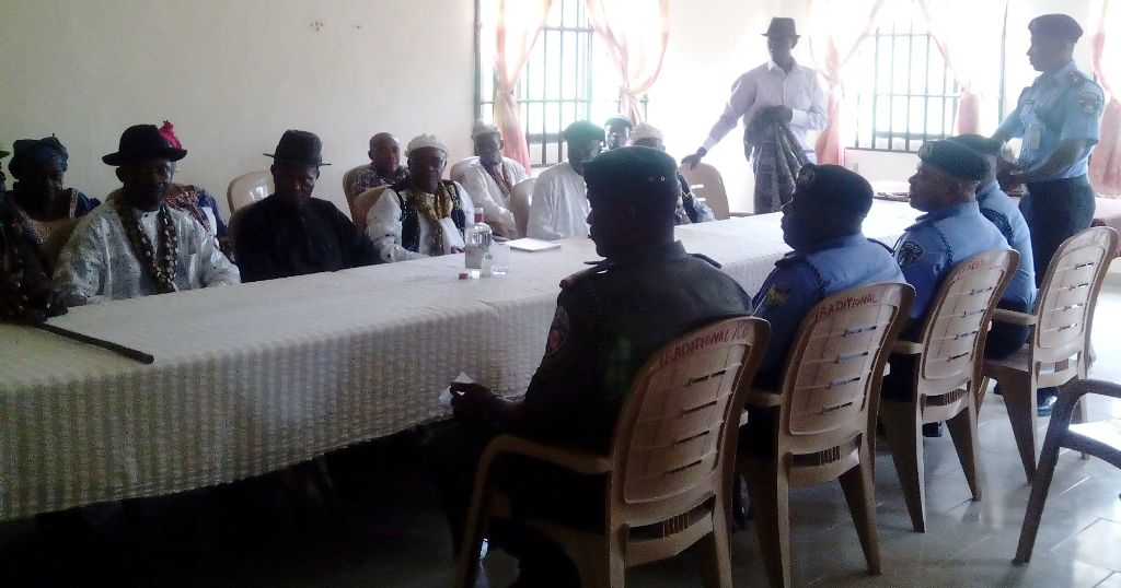 Commissioner of Police and his team dialoguing with traditional rulers
