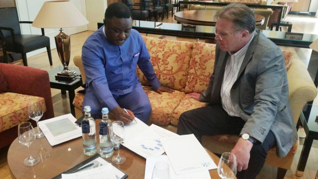 Governor Ayade signing the deal in Germany today