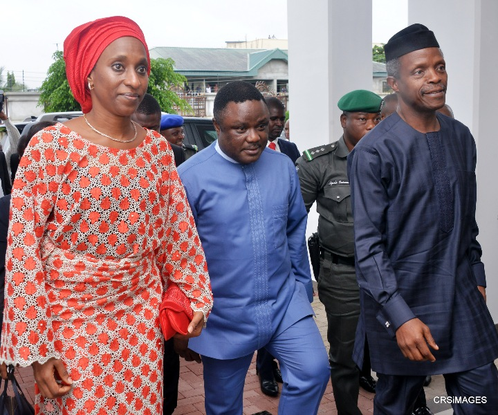 From right, Vice President, Yemi Osinbajo, Governor Ben Ayade and Mrs. Dolly Osinbajo, wife of the Vice President on arrival in Cross River today