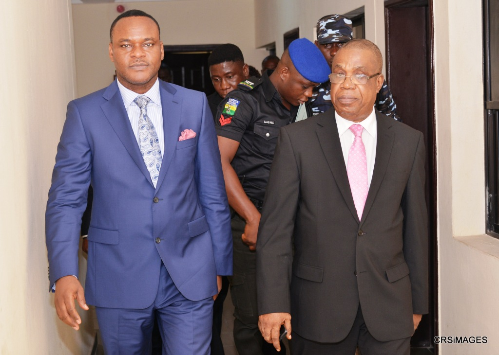 Deputy Governor of Cross River, Professor Ivara Esu (right) and Deputy Governor of Ebonyi state, Barrister Eric Igwe after their meeting in Calabar yesterday