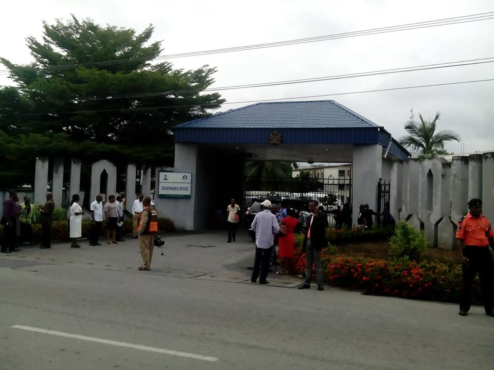 Workers locked out of office today by the Cross River State governor, Senator Ben Ayade for coming late to work