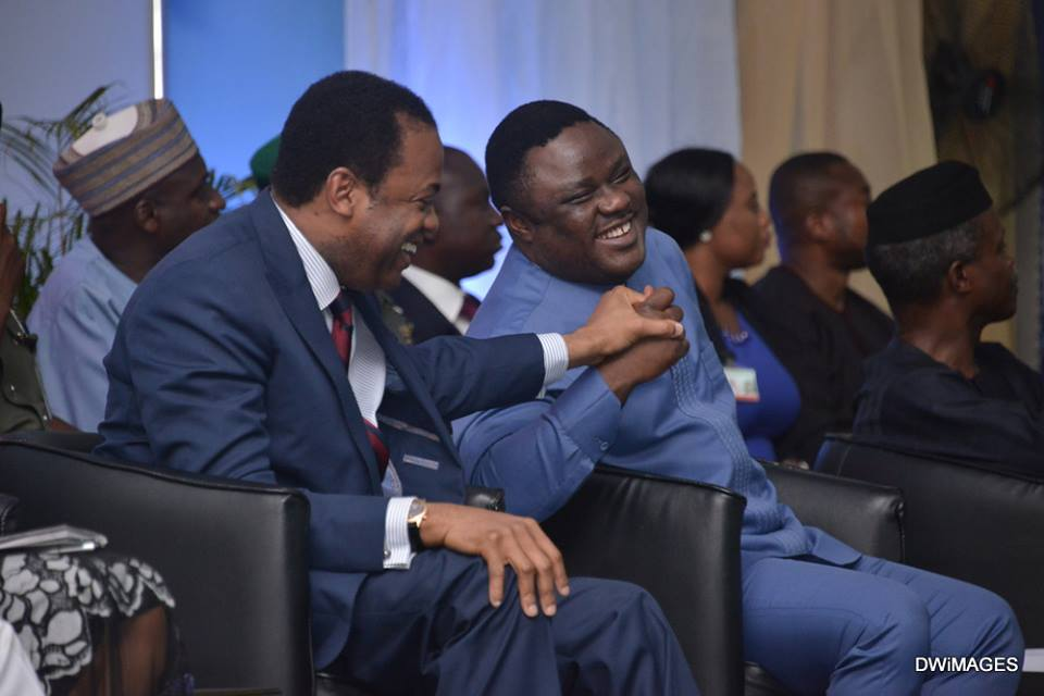 From Left, Former governor, Donald Duke, Governor Ben Ayade and Vice President Yemi Osinbajo at the event in Calabar