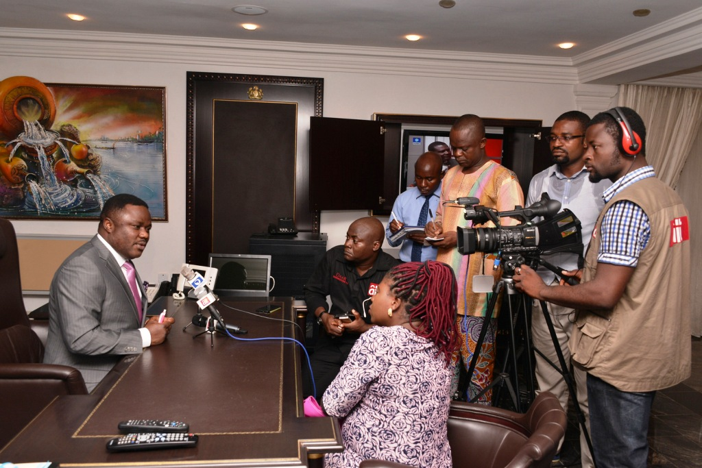 Governor Ben Ayade interacting with the press on resumption of work today in  Calabar
