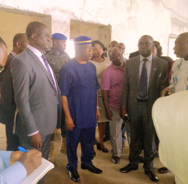 Deputy Governor, Ivara Esu while inspecting progress of work on the cafeteria yesterday