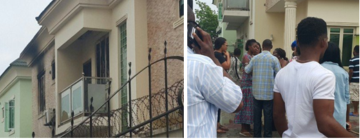 Kate Henshaw and sympathizers at her home earlier this afternoon