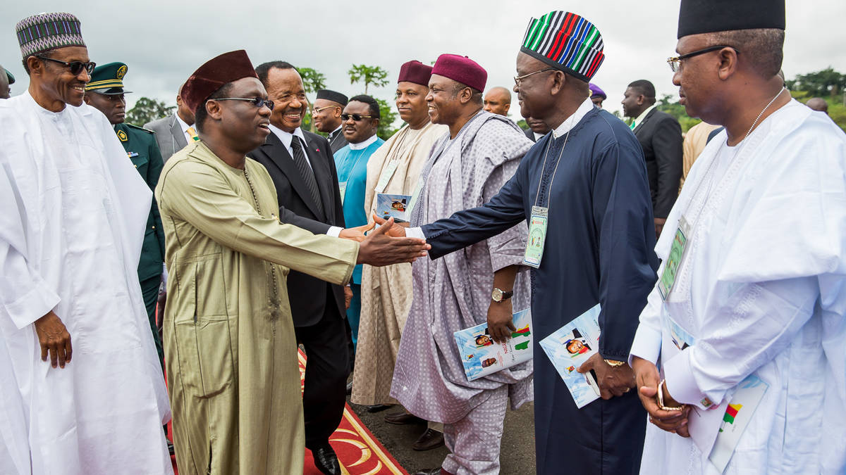 President Buhari protocol introducing members of the President's entourage to President Biya of Cameroon. Governor Ayade in 5th from right on the row of dignitaries being introduced