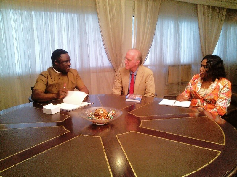 Governor Ben Ayade, Chief Technical Adviser of the Reducing Emissions from Deforestation and Forest Degradation, REDD+ program, in Nigeria, Allen Turner and Permanent Secretary, Forestry Commission, Perpetua Aji in a meeting with the governor this evening
