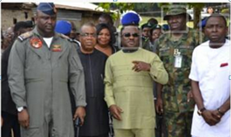 Governor Ayade, (center) his State Security Adviser and security chiefs in Cross River at the reconnaissance exercise